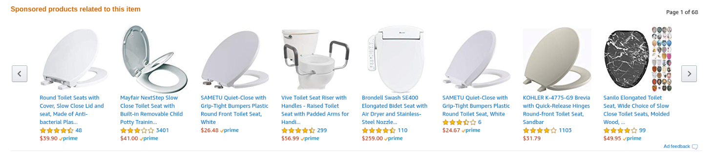 Looking for a toilet seat? Amazons recommendation engine has you covered (Pun intended).