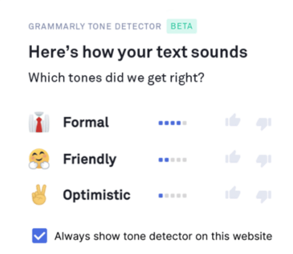 Grammarly's email tone detector on an email I composed.